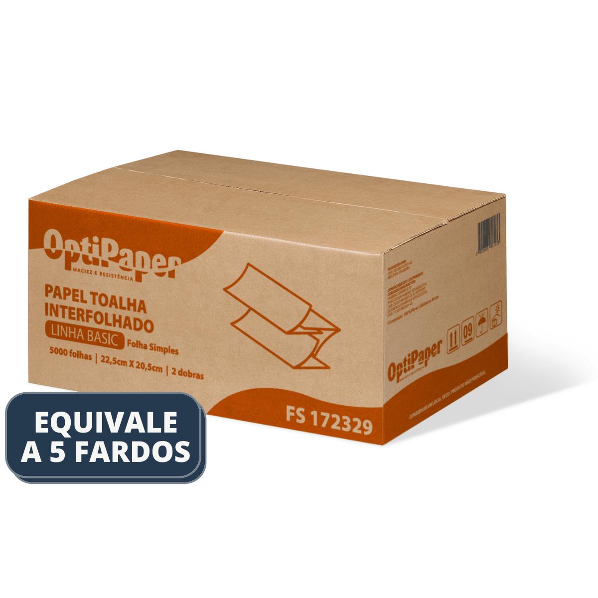Papel Toalha Interfolhado 2 Dobras – 5000 folhas - 100% Celulose - Caixa 20 pacotes de 250 Folhas