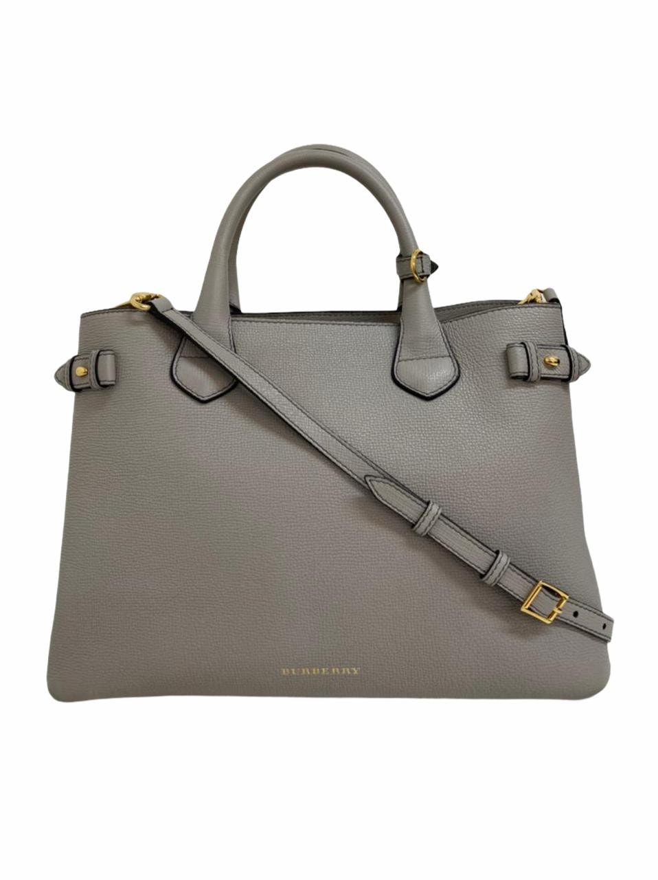 Bolsa Burberry Banner Tote Leather and House Check Canvas Cinza