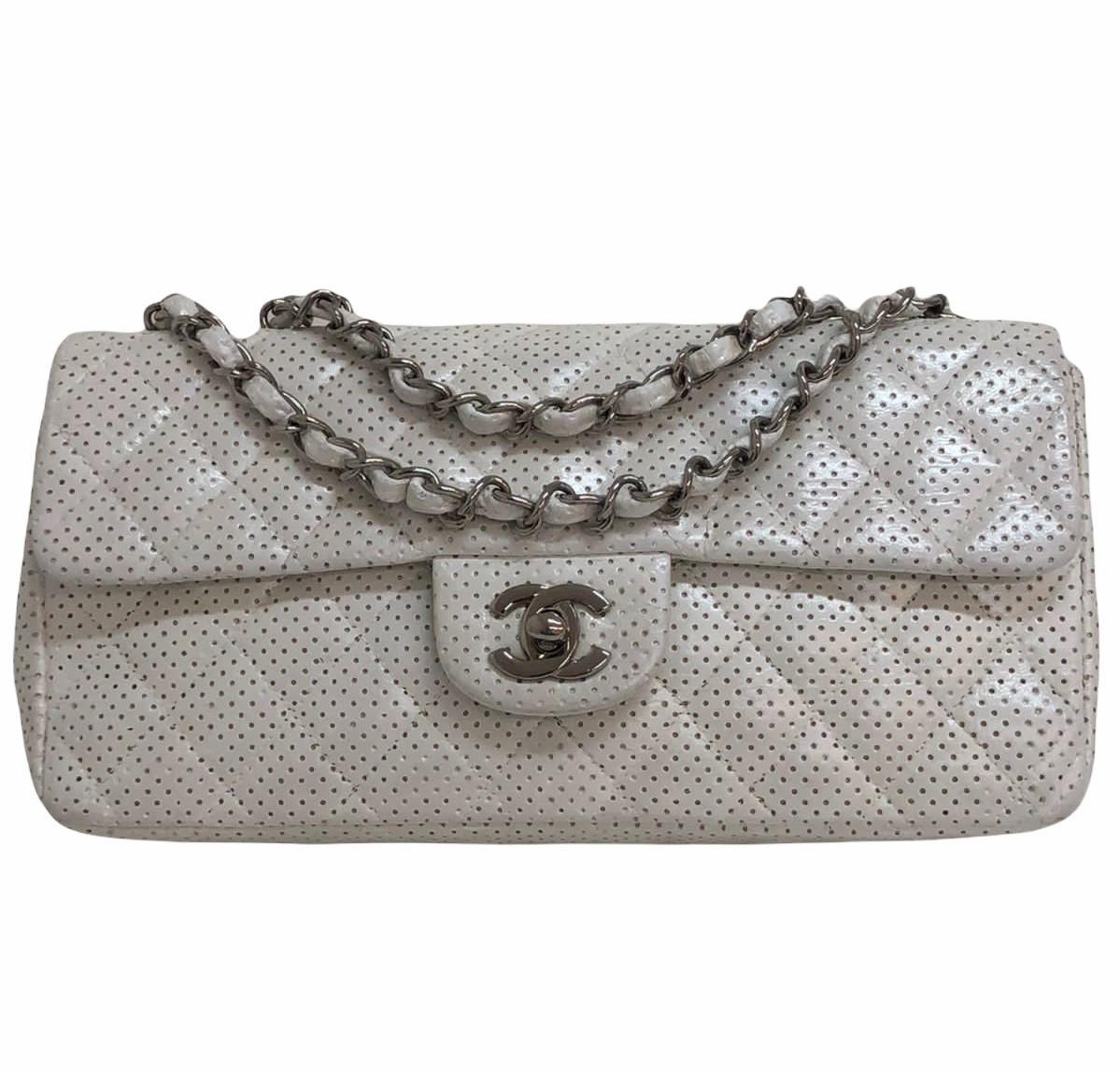Bolsa Chanel Baseball Spirit Perforated Off-White