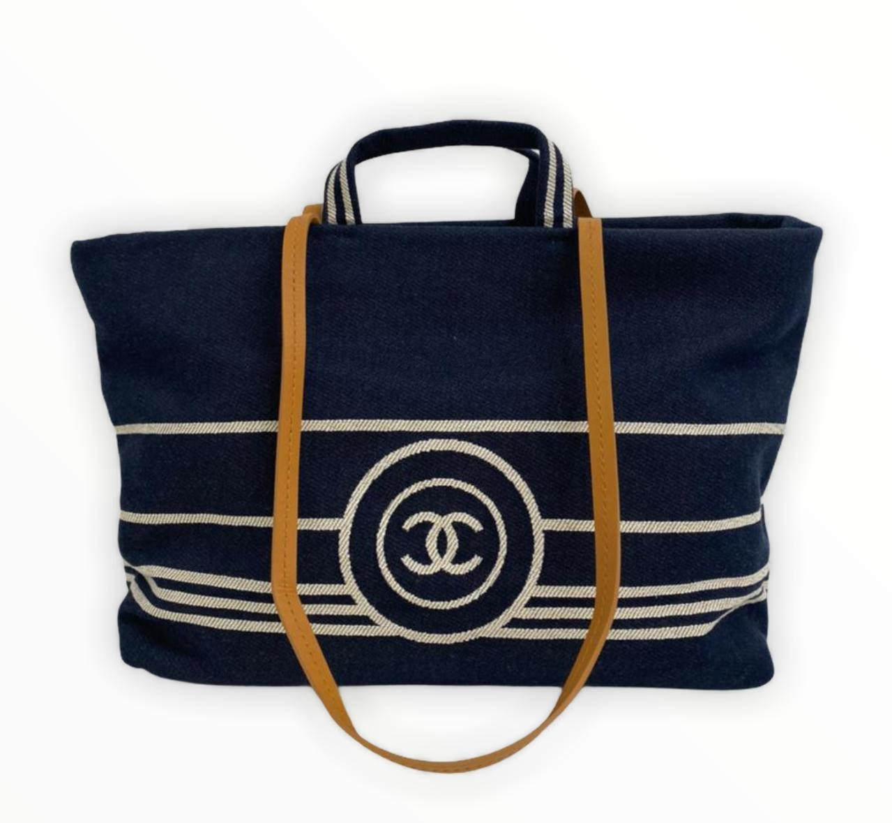 Bolsa Chanel CC Shopping Large Denim