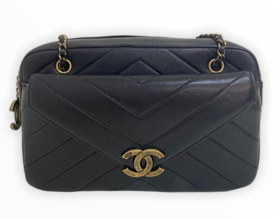 Bolsa Chanel Chevron Preta