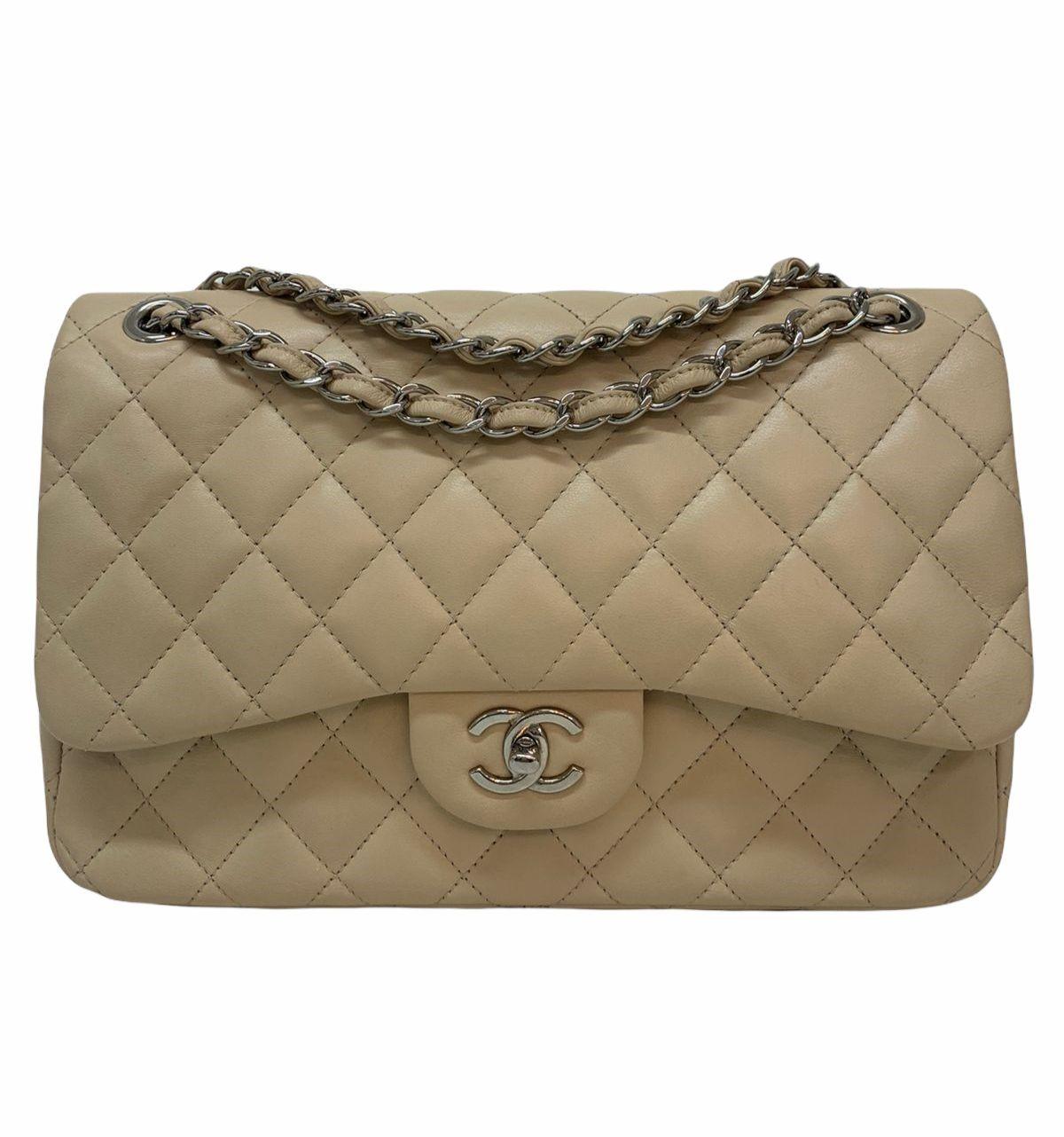Bolsa Chanel Classic Double Flap Jumbo Bege