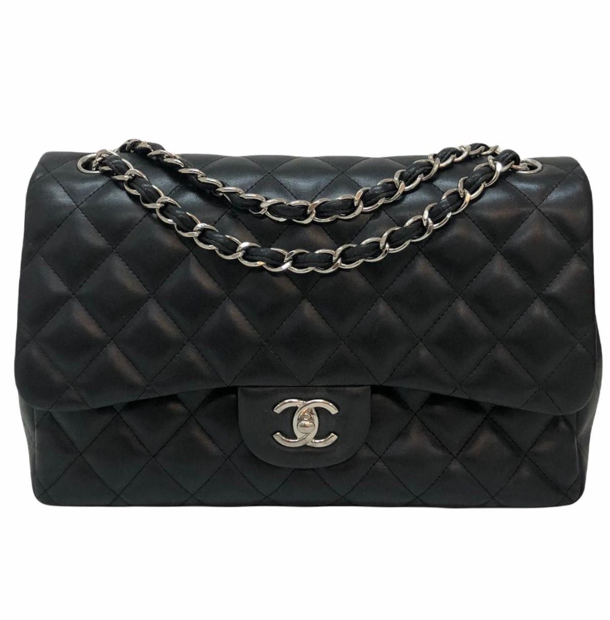 Bolsa Chanel Classic Double Flap Jumbo Lambskin Preta