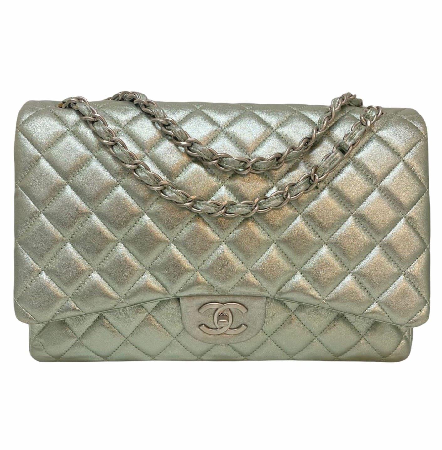 Bolsa Chanel Classic Double Flap Maxi Silver Metallic