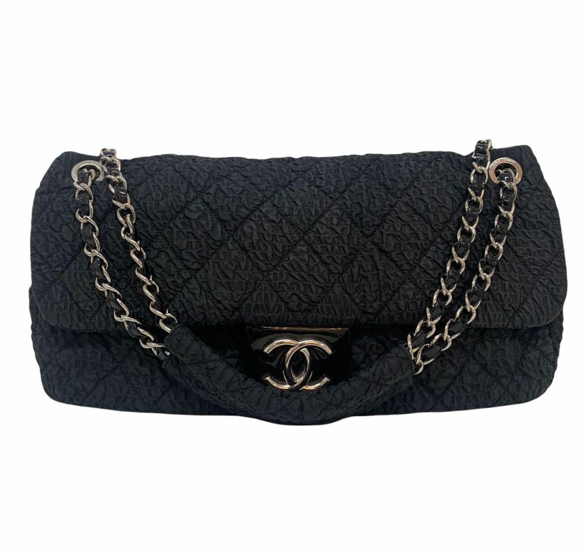 Bolsa Chanel Classic Flap XL Large Plush Textured Black