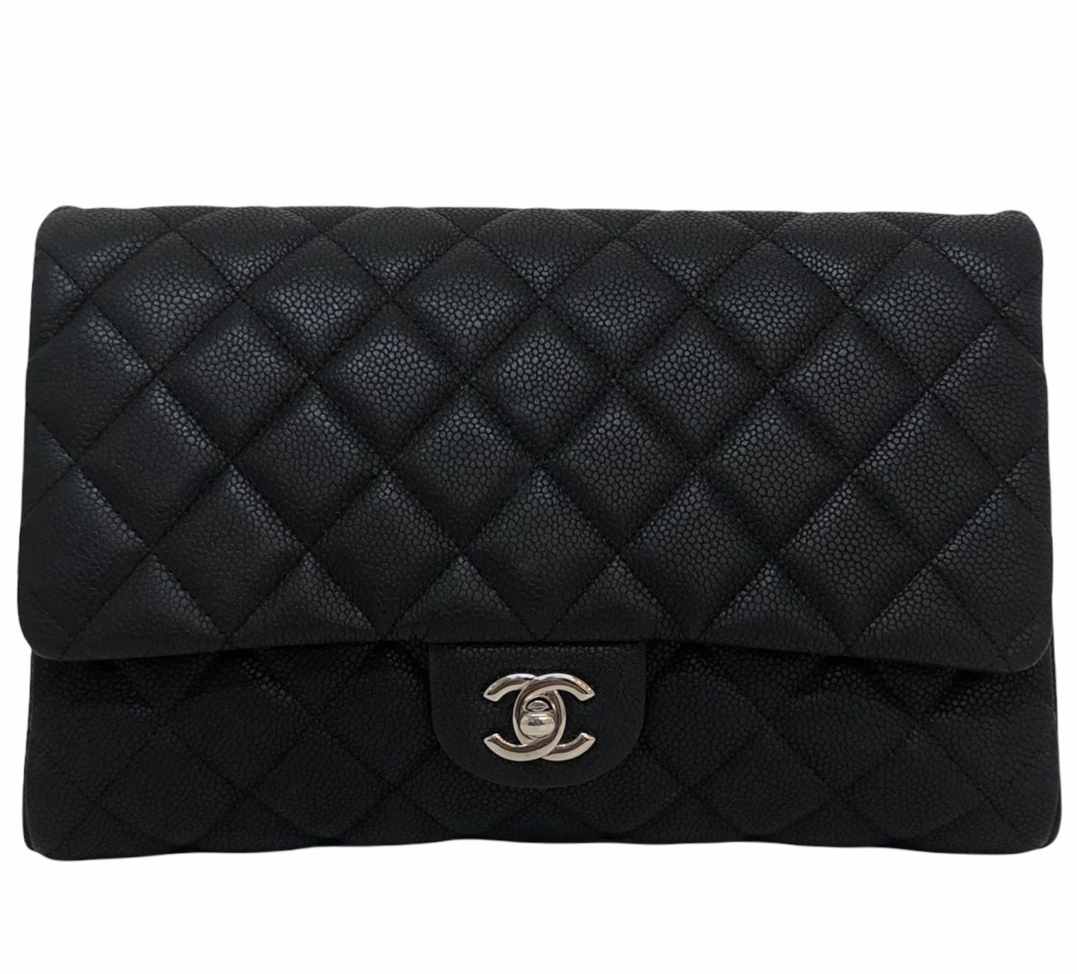 Bolsa Chanel Clutch With Chain Caviar Preta