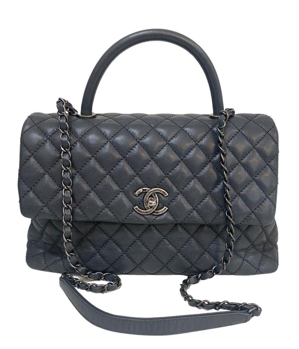Bolsa Chanel Coco Handle Couro Caviar Cinza