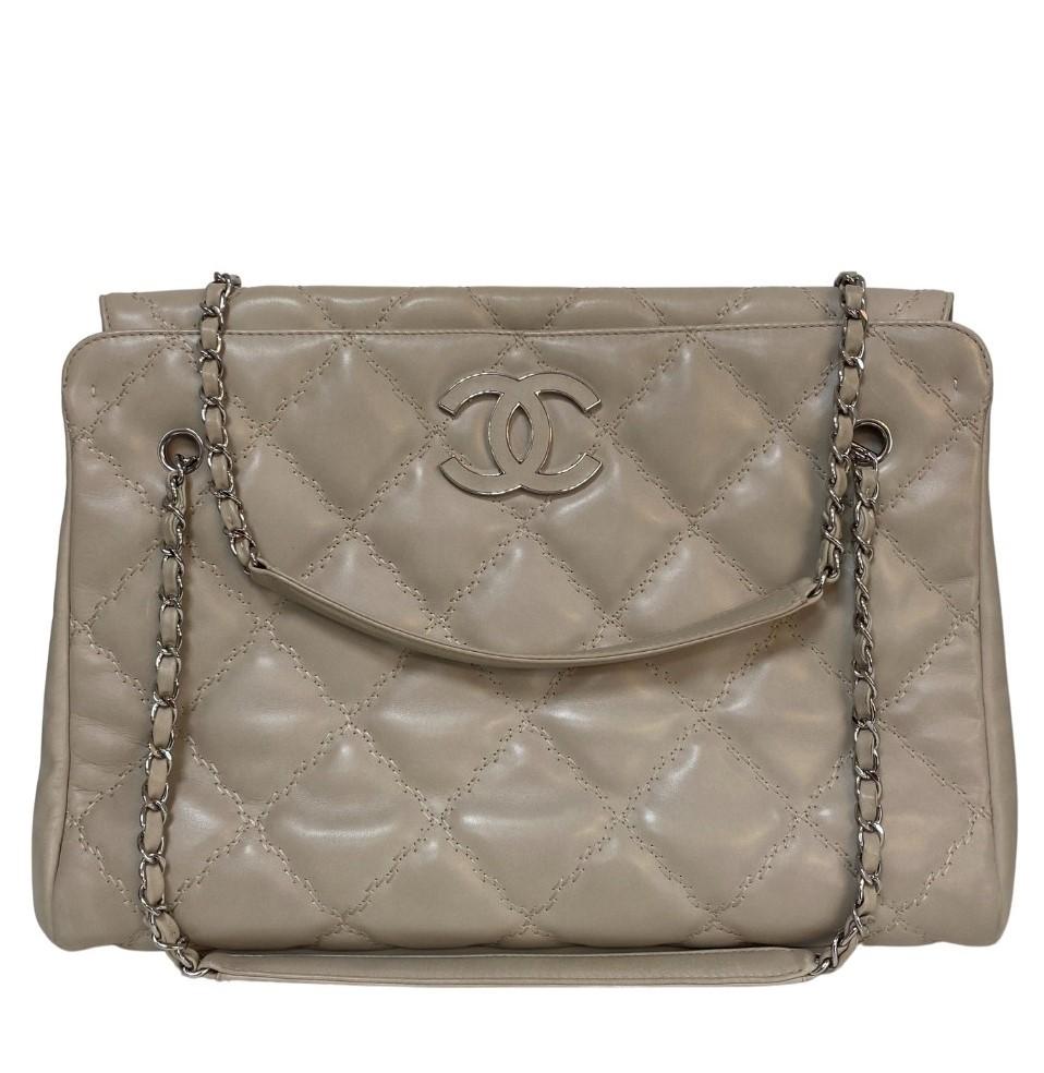 Bolsa Chanel Couro Lambskin Branca