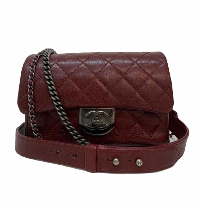 Bolsa Chanel Double Carry Chain Waist Vinho