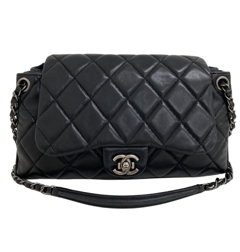 Bolsa Chanel Easy Flap Preta Lambskin