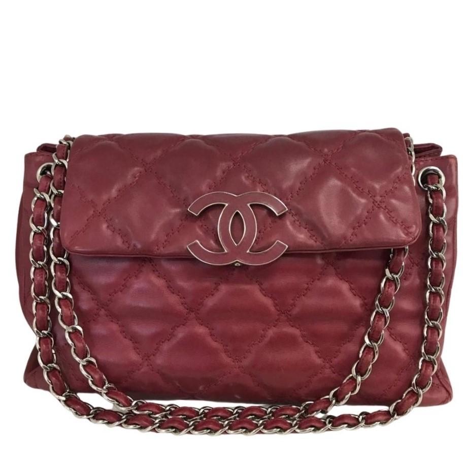 Bolsa Chanel Hampton Couro Lambskin
