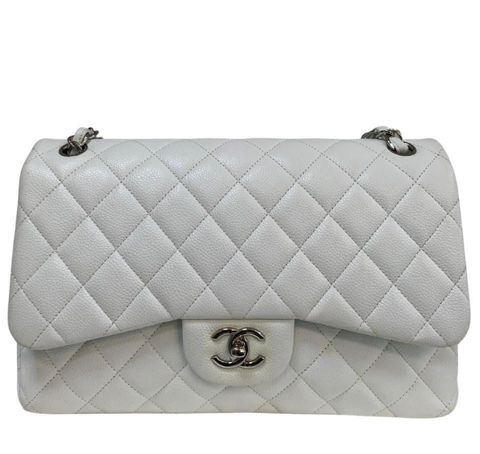 Bolsa Chanel Jumbo Caviar Branca