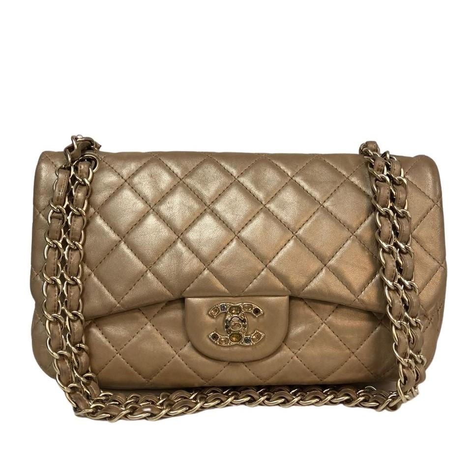 Bolsa Chanel Jumbo Dourada