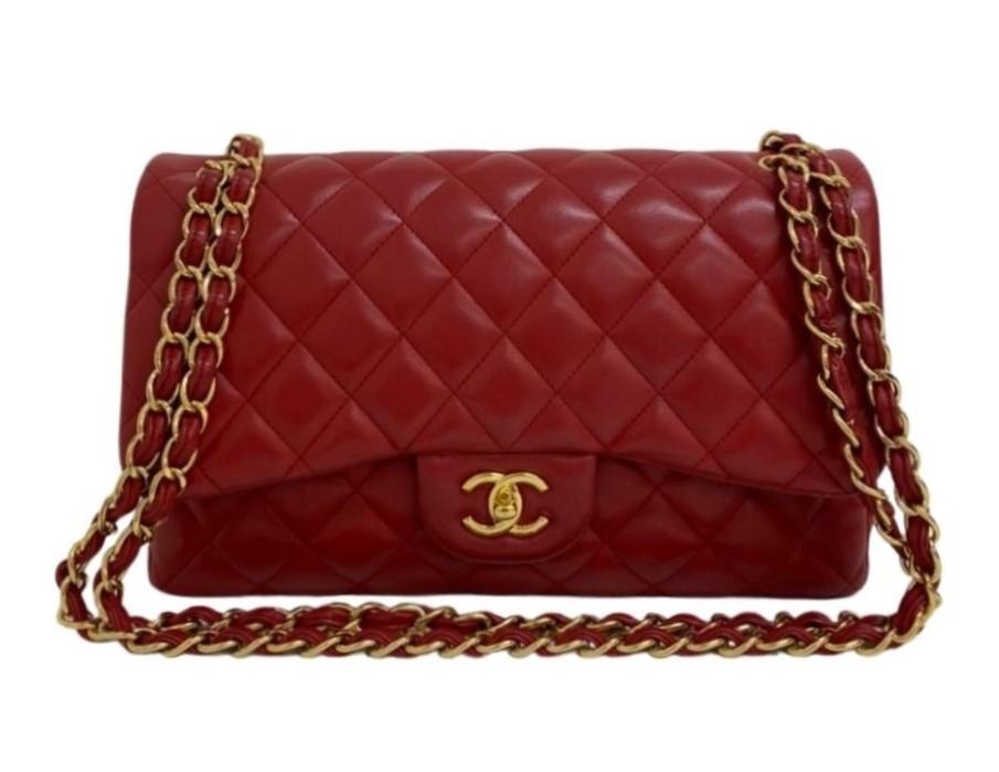 Bolsa Chanel Jumbo Lambskin Vermelha