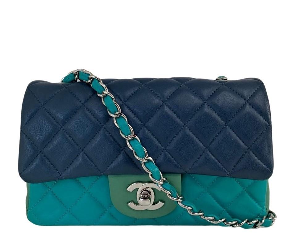 Bolsa Chanel Mini Turquoise Navy Green Tricolor