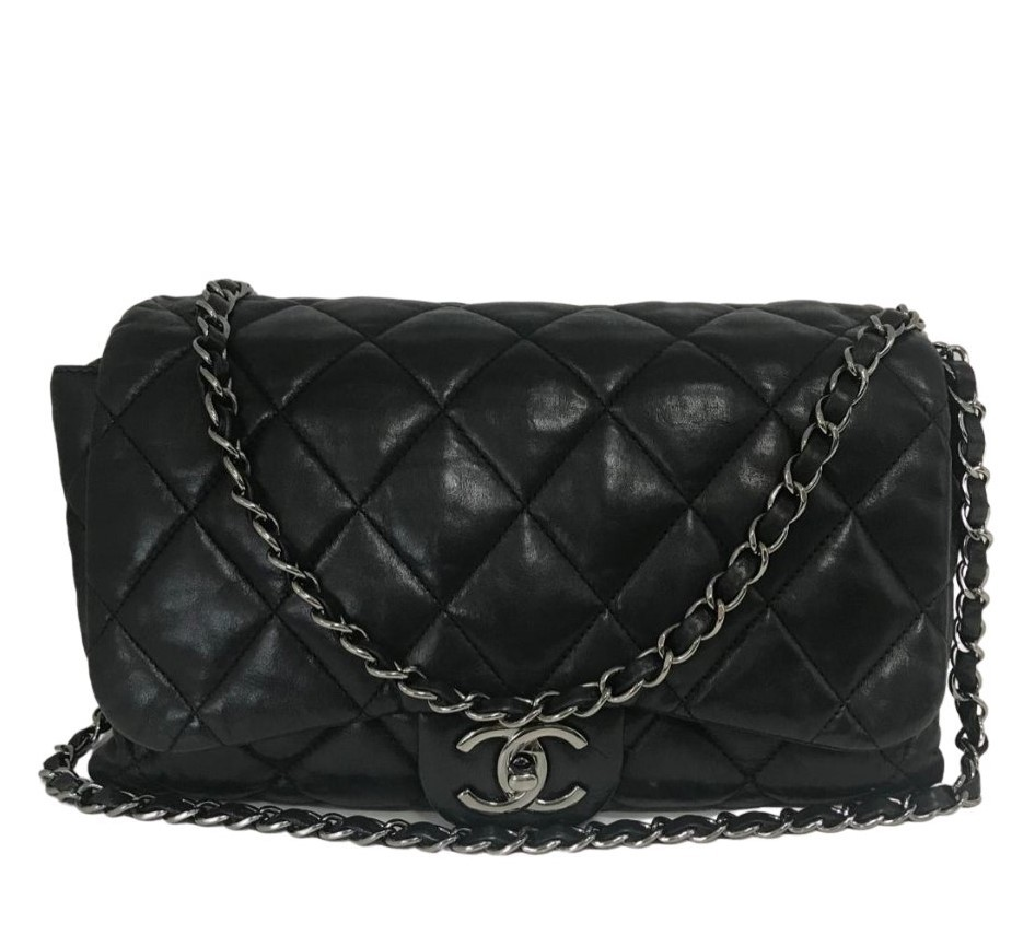 Bolsa Chanel Easy Flap Lambskin Preta
