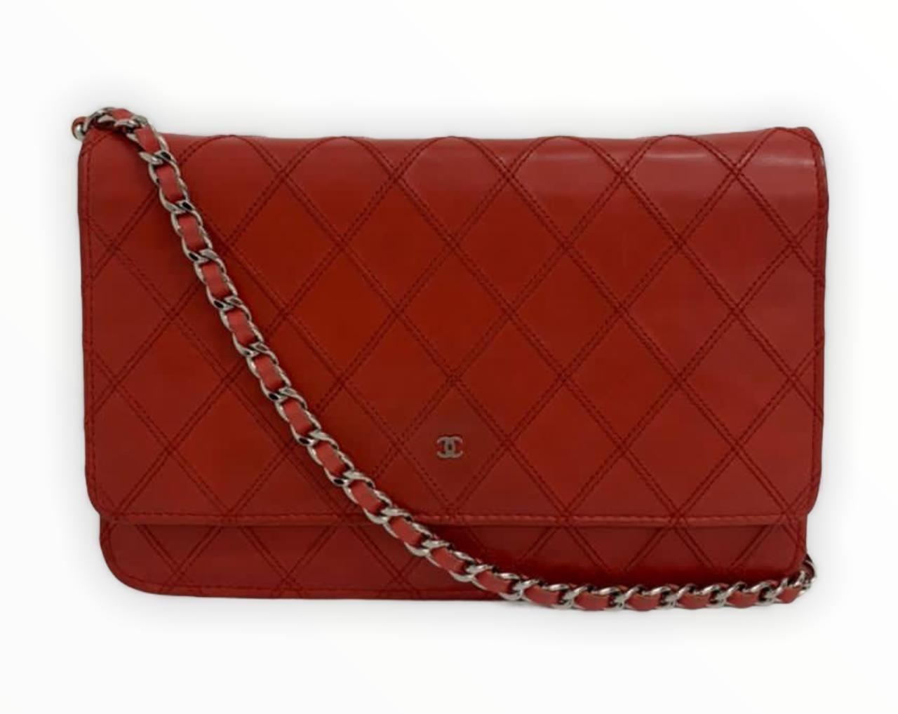 Bolsa Chanel Wallet On Chain Vermelha