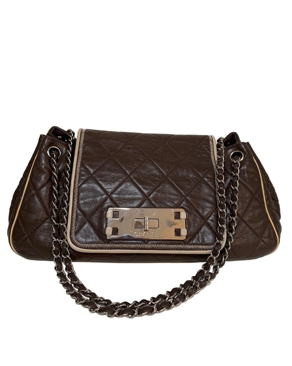 Bolsa Chanel West Large Marrom Escuro