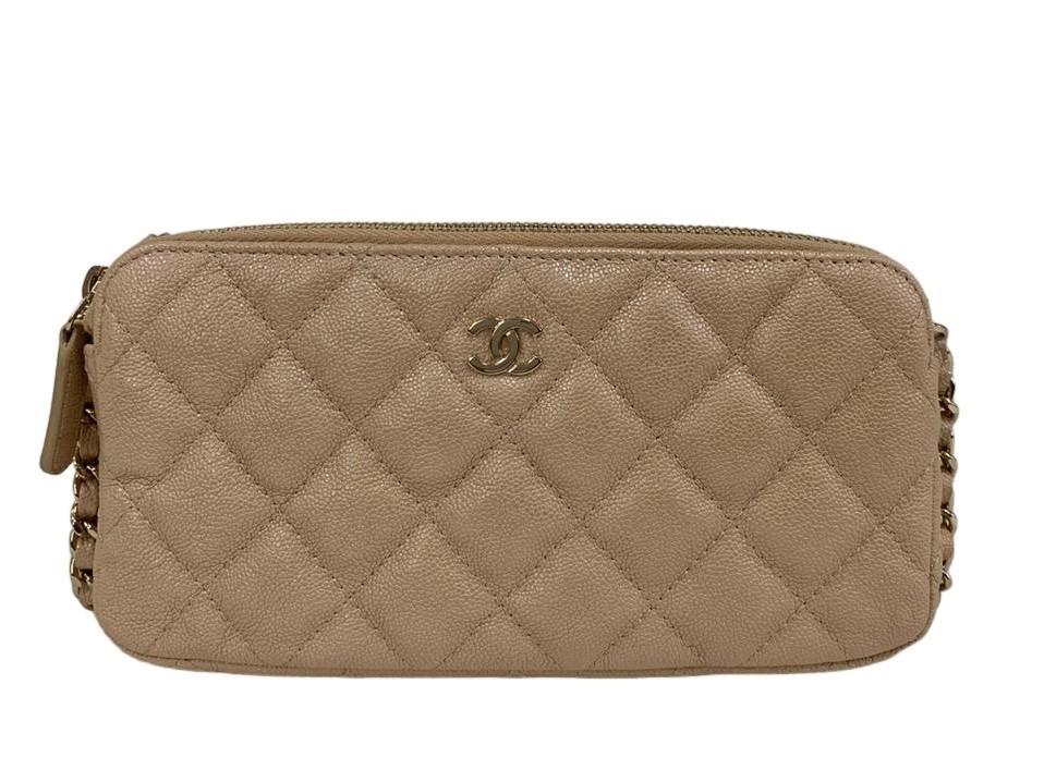 Bolsa Chanel Zipped Around Bege