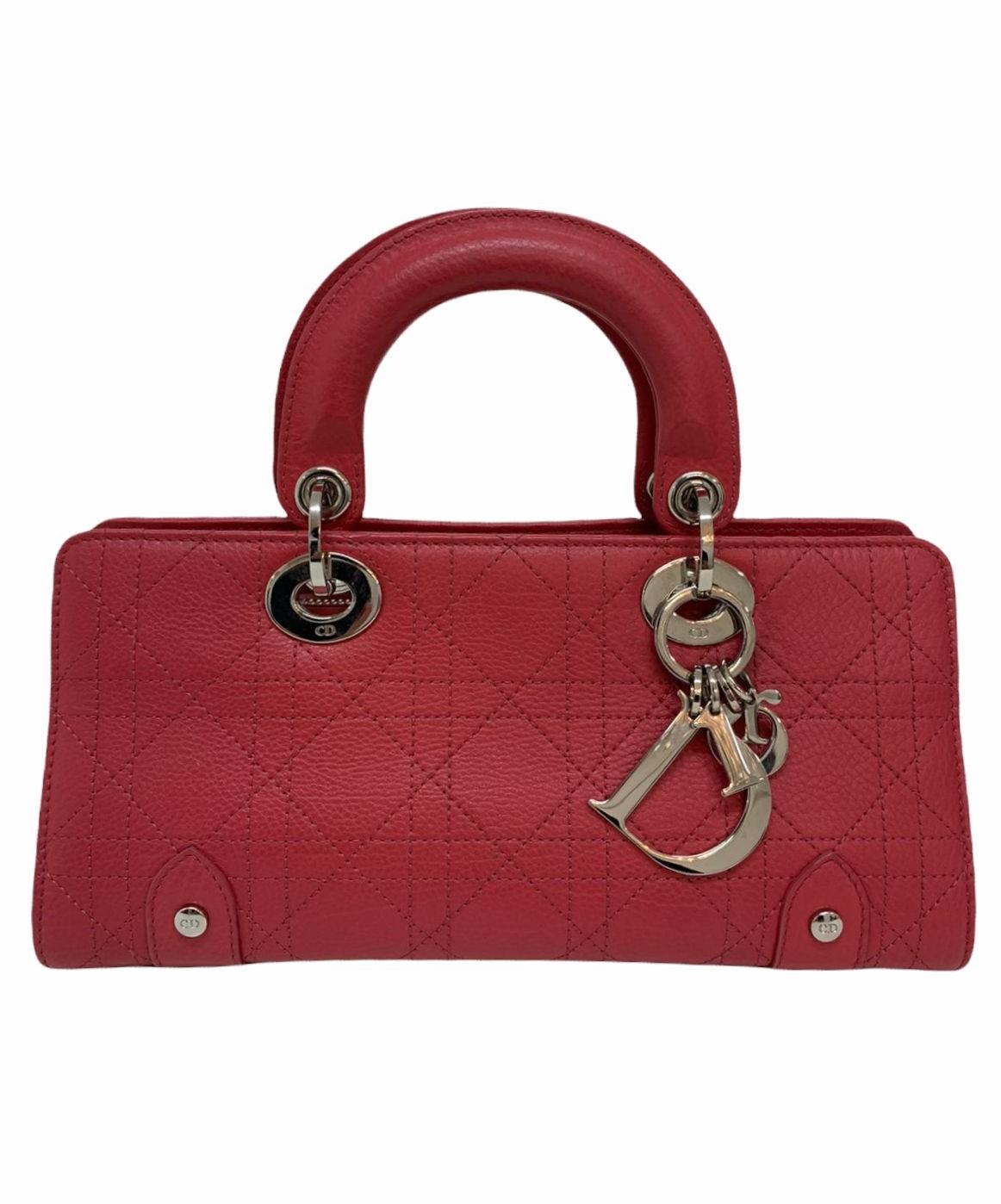 Bolsa Dior Lady Dior East West Cannage Stitch Leather Coral