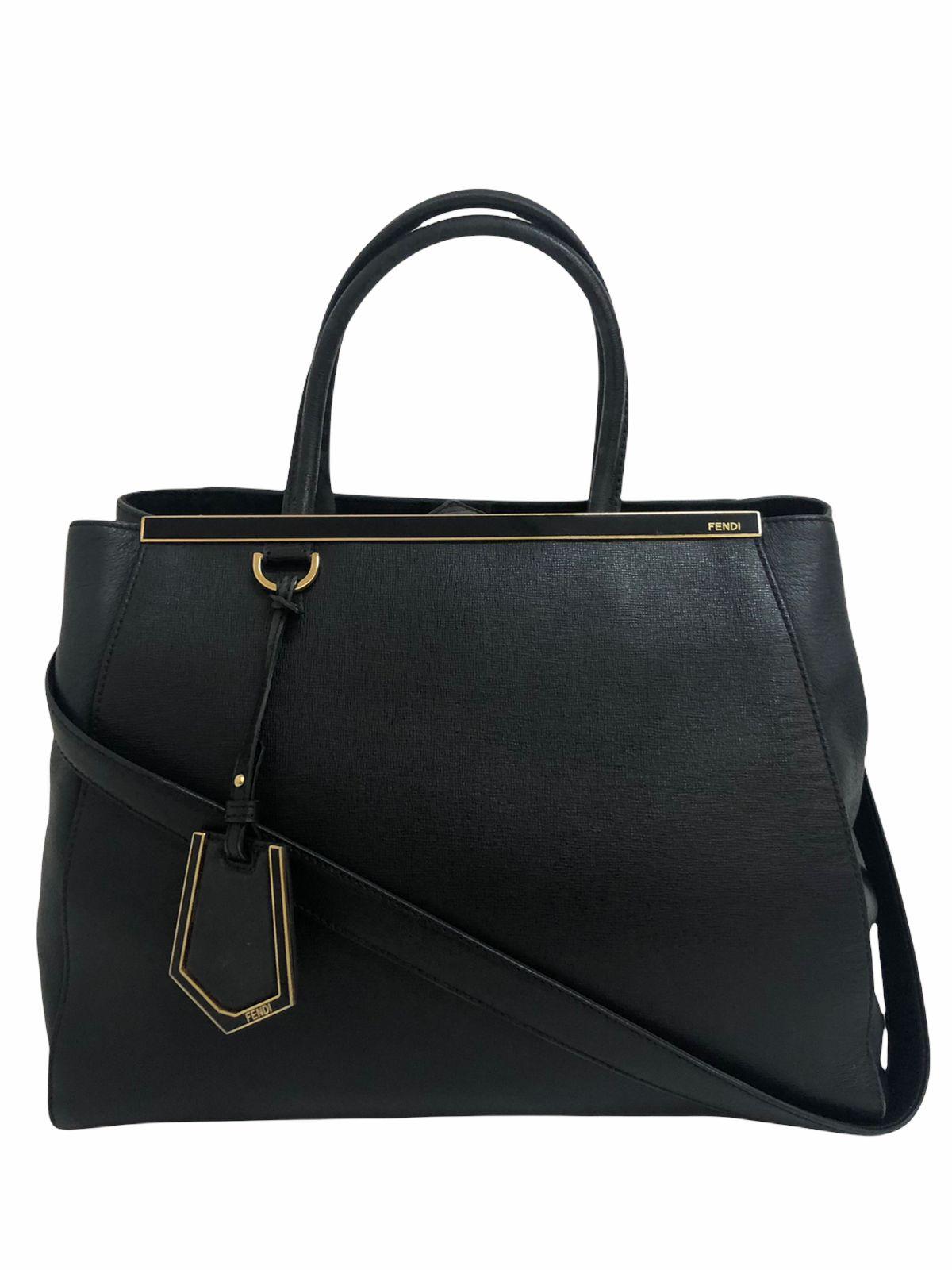 Bolsa Fendi 2Jours Leather Medium Preta