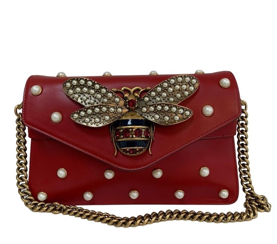 Bolsa Gucci Broadway Pearly Bee Vermelha