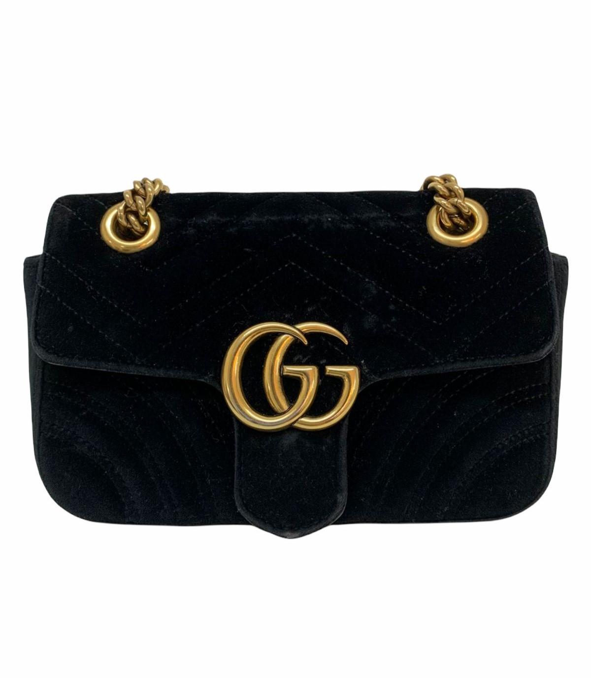 Bolsa Gucci GG Marmont Matelassé Velvet Preta