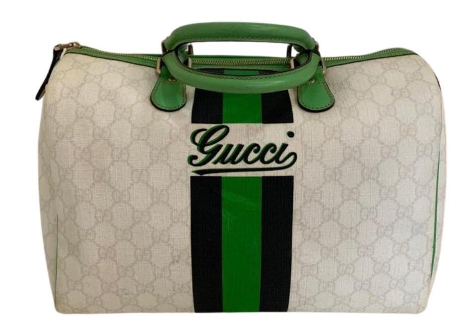 Bolsa Gucci Green & White Supreme Boston