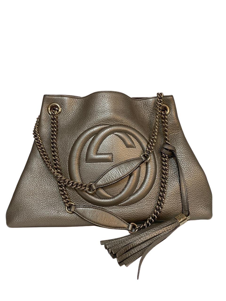 Bolsa Gucci Soho Chain Metalizada