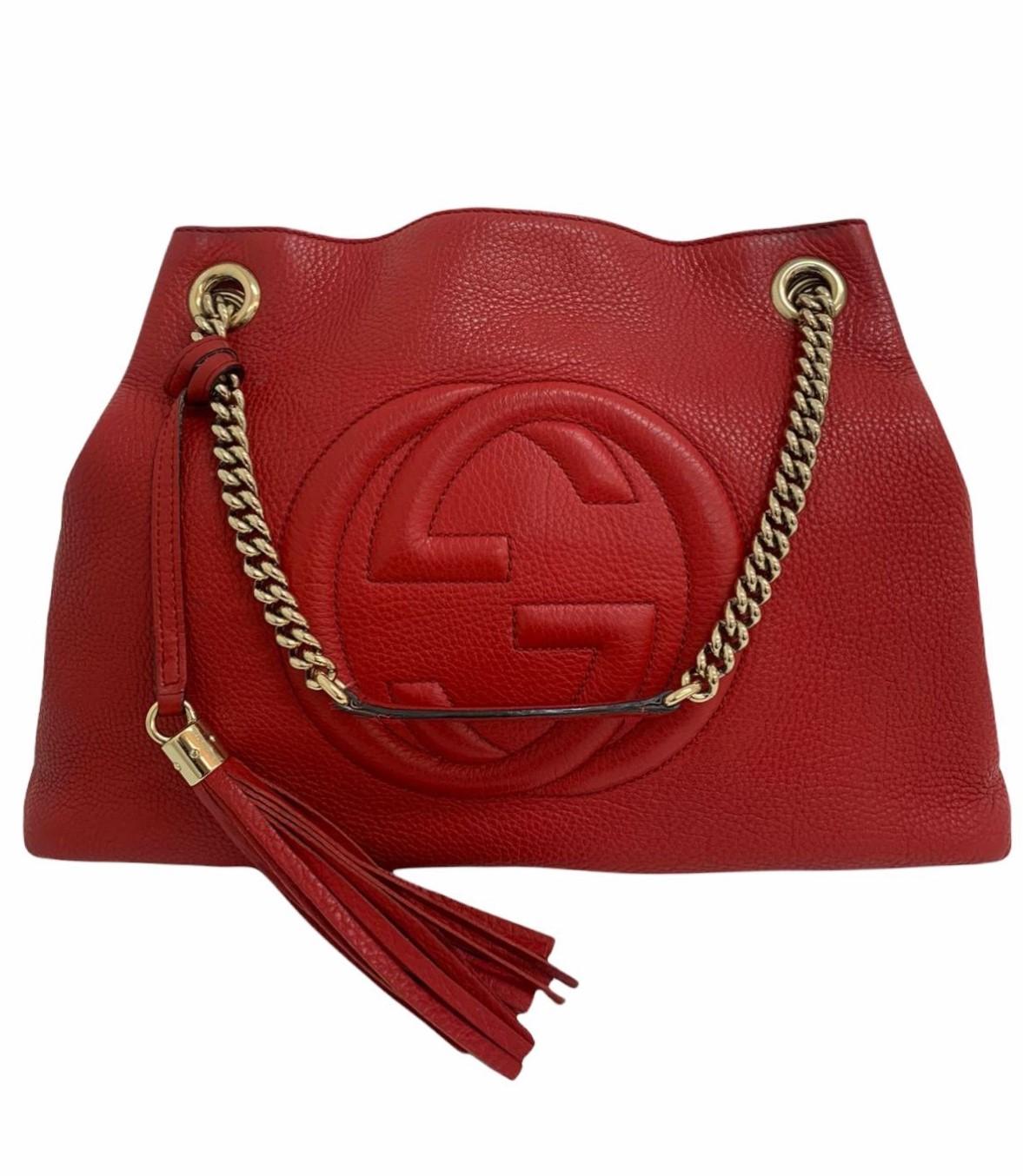 Bolsa Gucci Soho Chain Strap Shoulder Vermelha