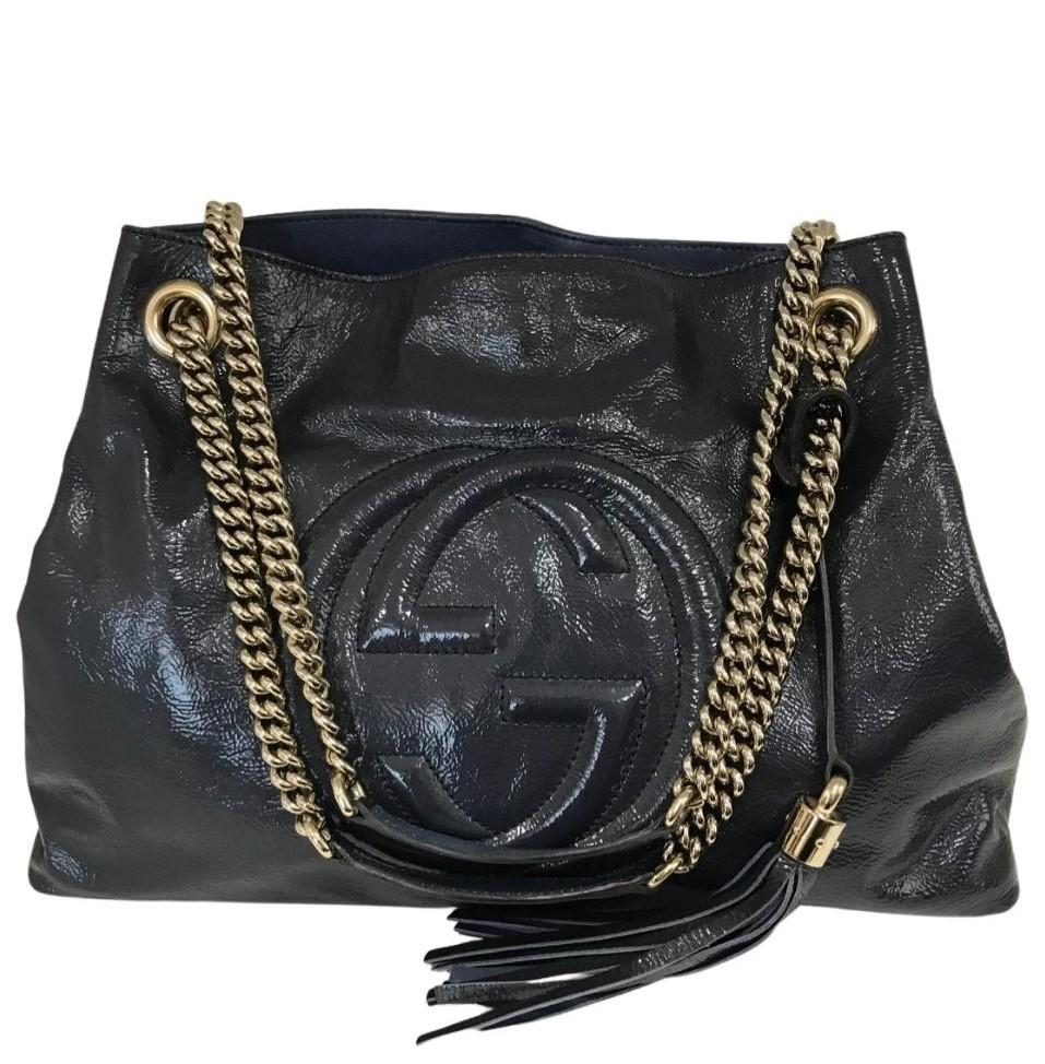 Bolsa Gucci Soho Chain Verniz Azul Marinho