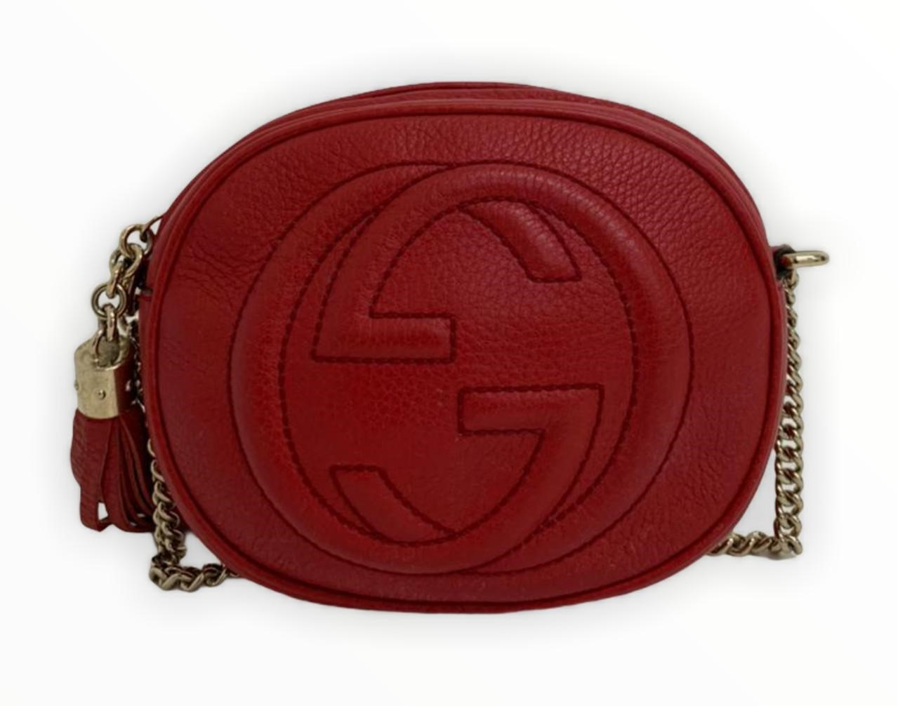 Bolsa Gucci Soho Nubuck Mini Chain Vermelha