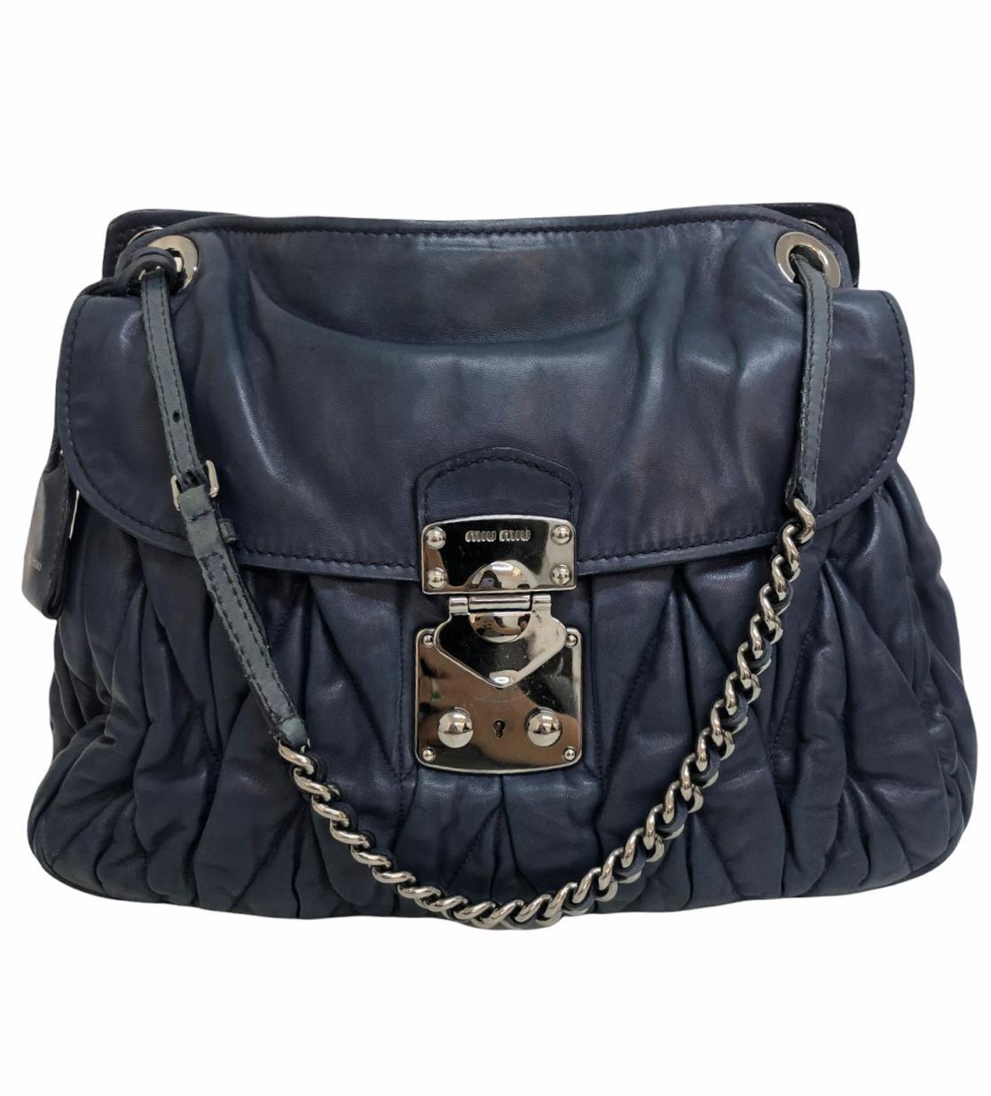 Bolsa Miu Miu Coffer Matelassé Azul