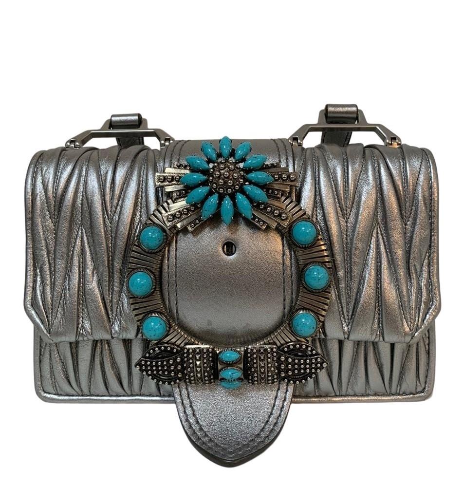Bolsa Miu Miu Embellished Matelassé Cromo
