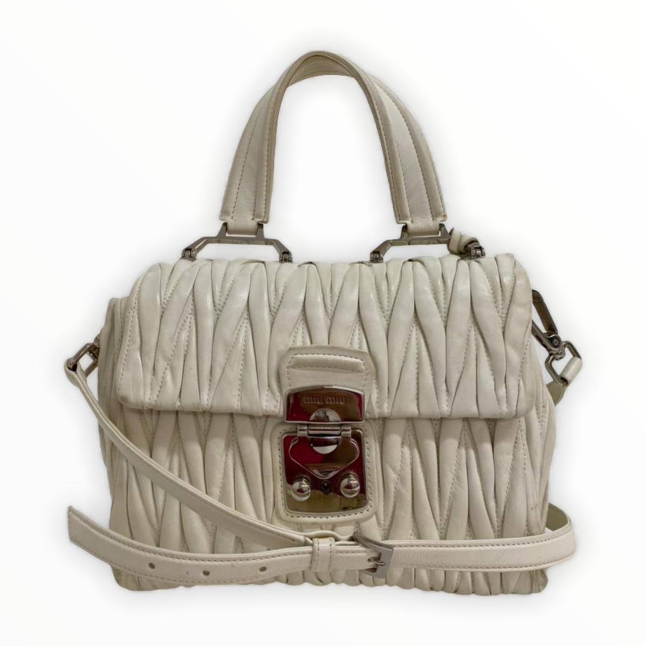 Bolsa Miu Miu Top Handle Matelassé Off-White