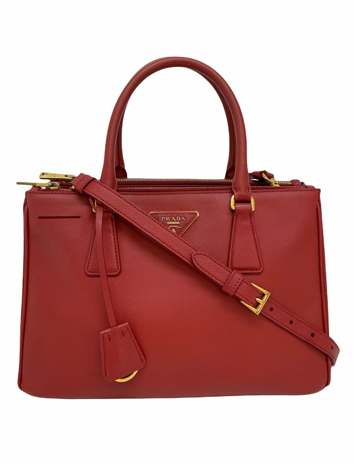 Bolsa Prada Double Zip Lux Tote Saffiano Small Vermelha