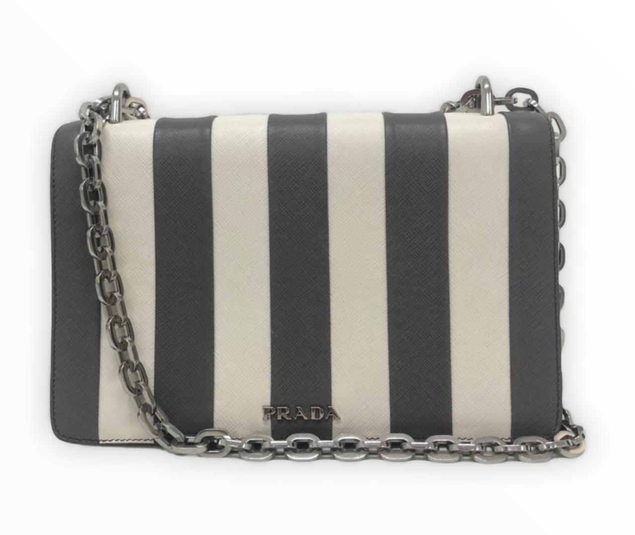 Bolsa Prada Marble Gray Saffiano Stripe Motif
