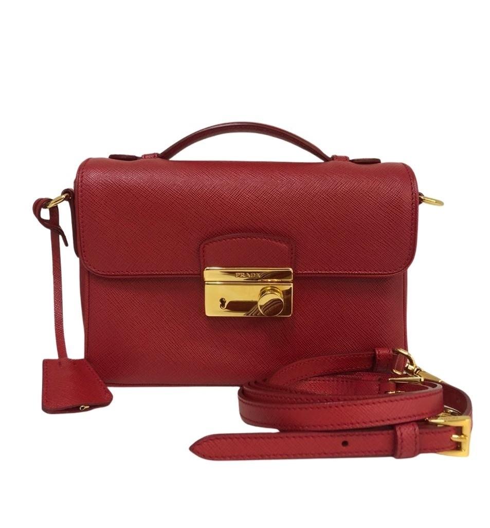Bolsa Prada Saffiano Lux Sound Vermelha
