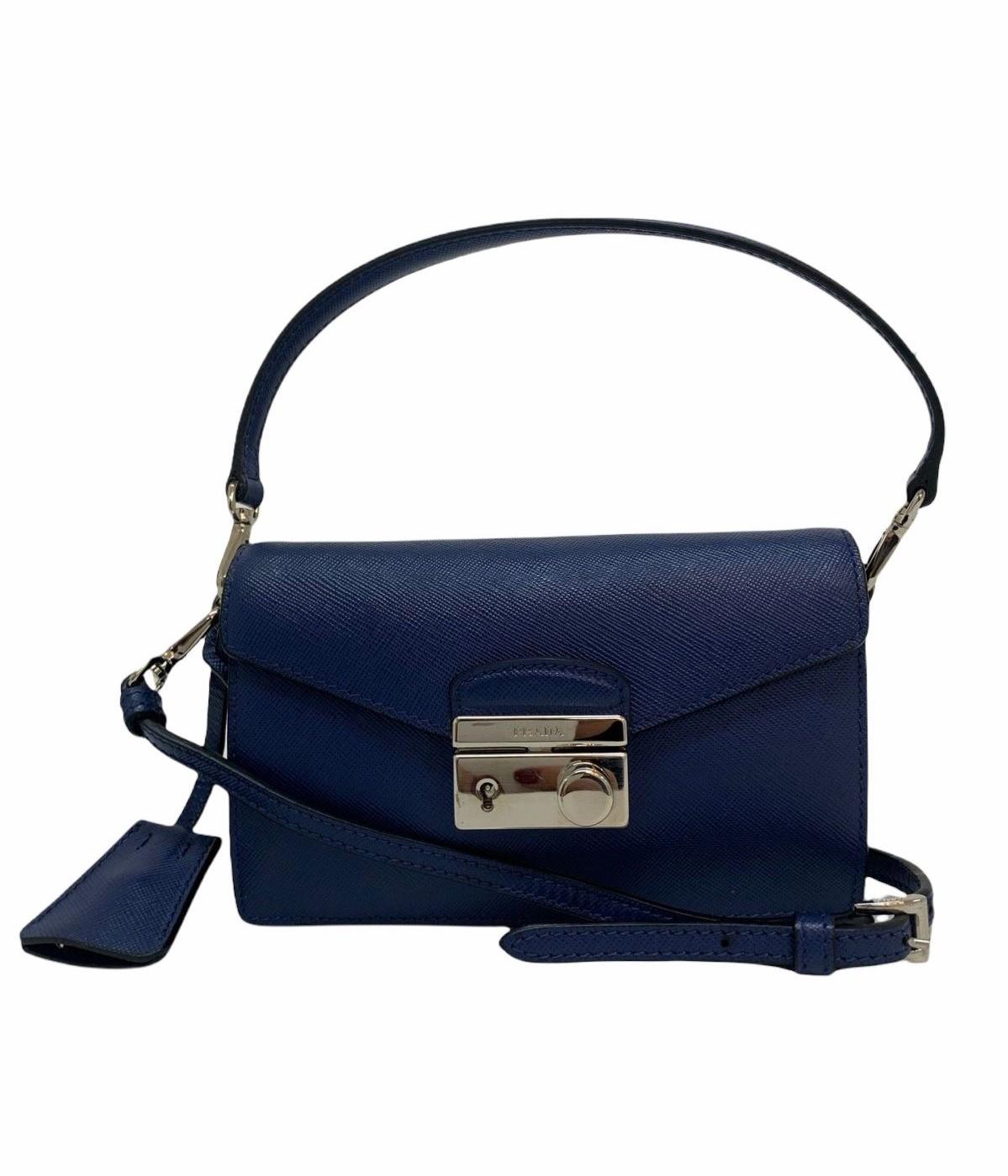 Bolsa Prada Sound Saffiano Mini Azul