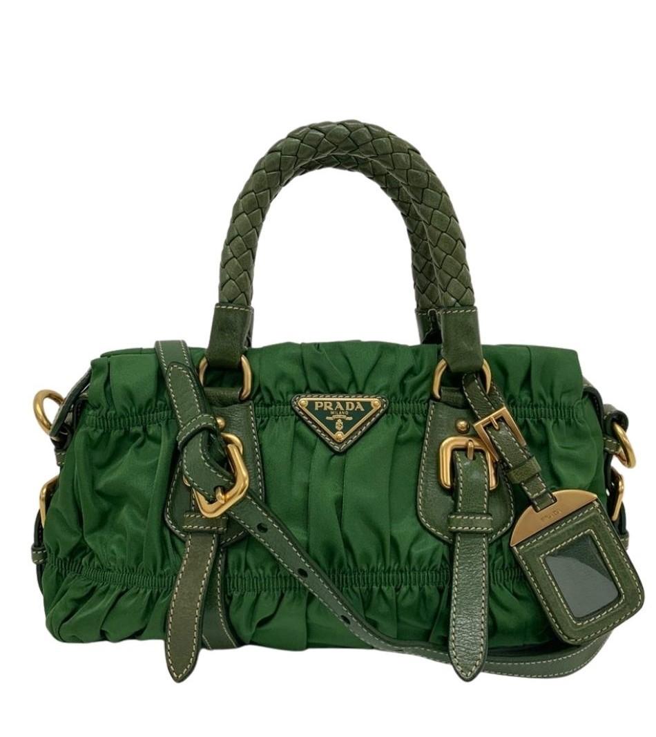 Bolsa Prada Tessuto Gaufre Verde
