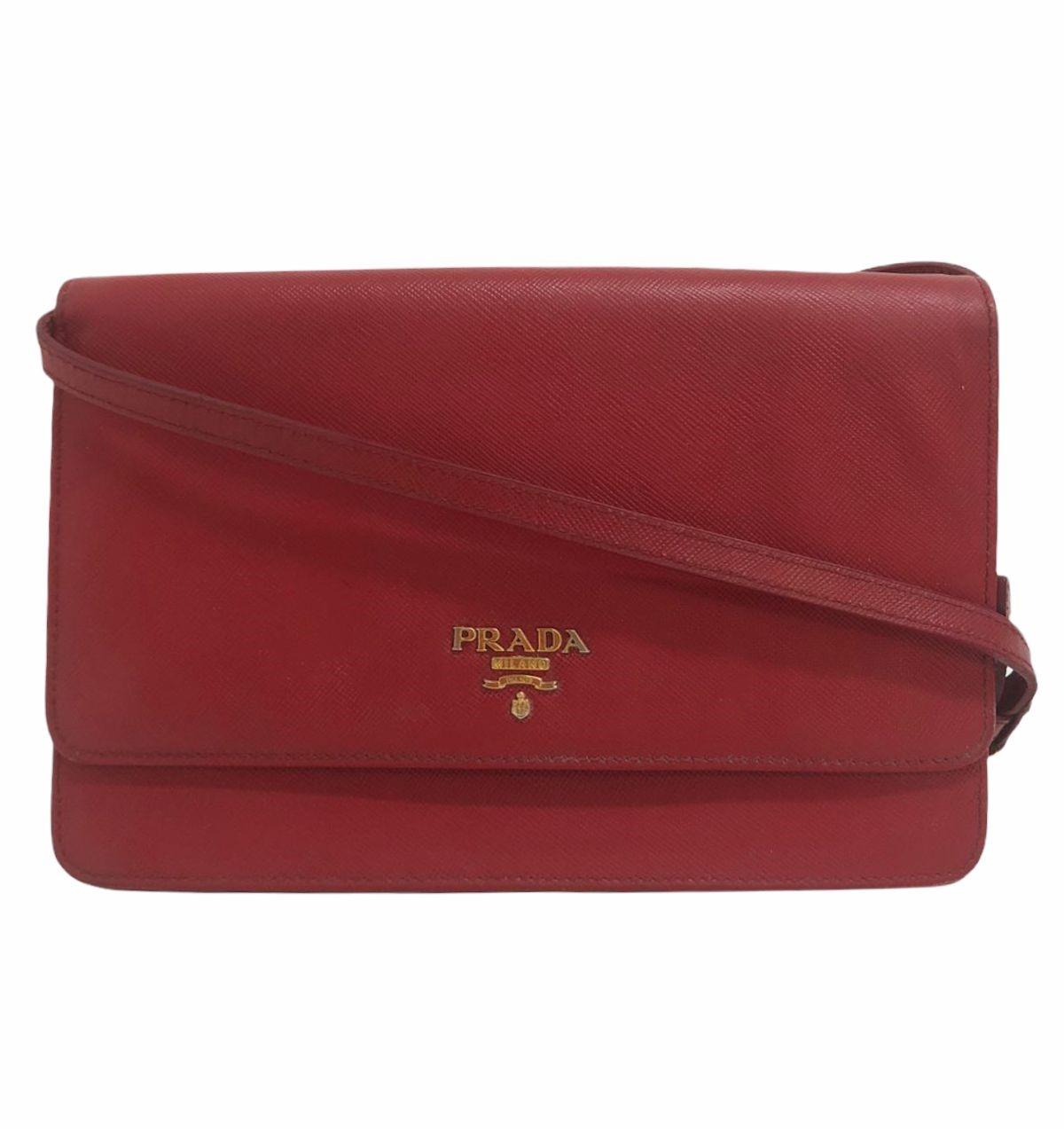 Bolsa Prada Wallet on Strap Saffiano Vermelha