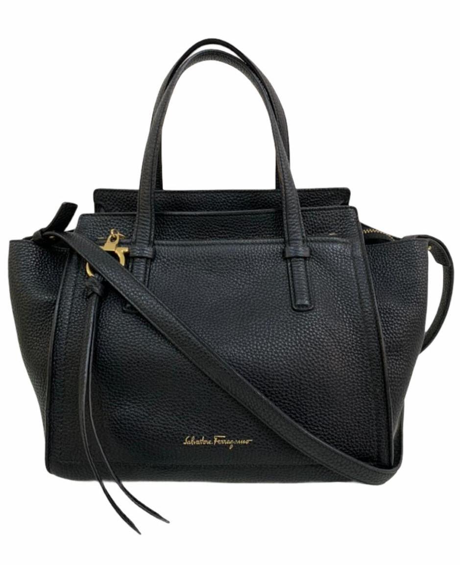 Bolsa Salvatore Ferragamo Amy Tote Pebbled Leather Preta Small