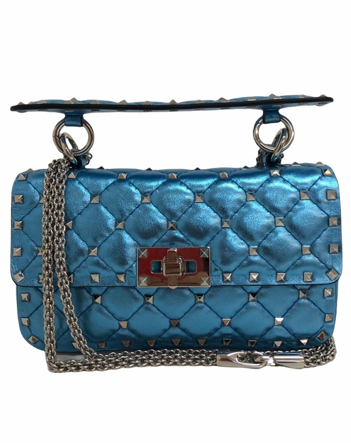 Bolsa Valentino Rockstud Spike Small Azul Metálica