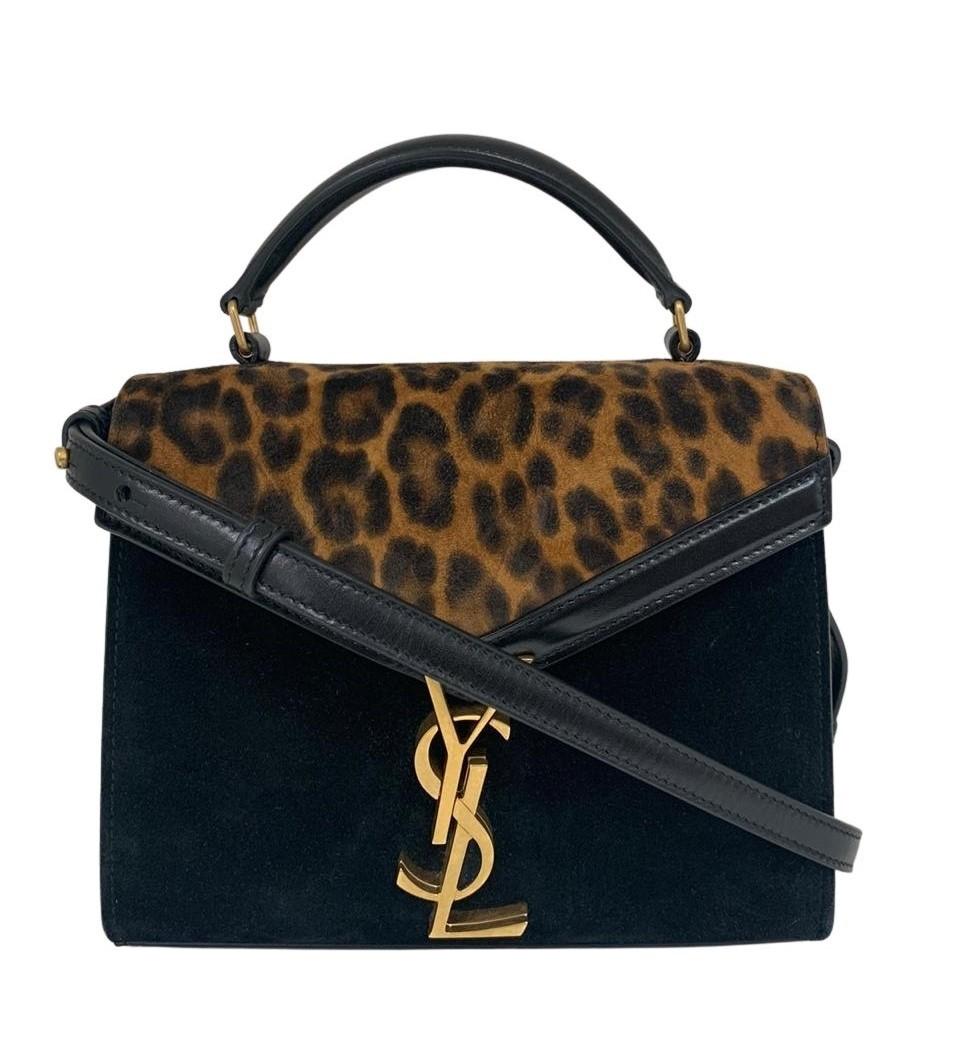 Bolsa Yves Saint Laurent Cassandra Mini Suede Leopard Print