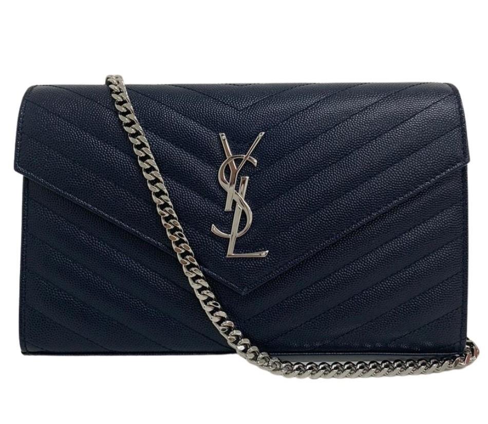 Bolsa Yves Saint Laurent Chain Azul Marinho