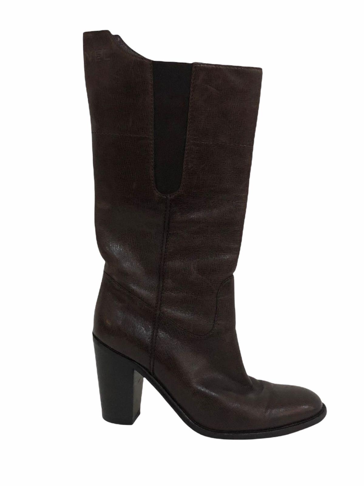 Bota Chanel Leather Marrom