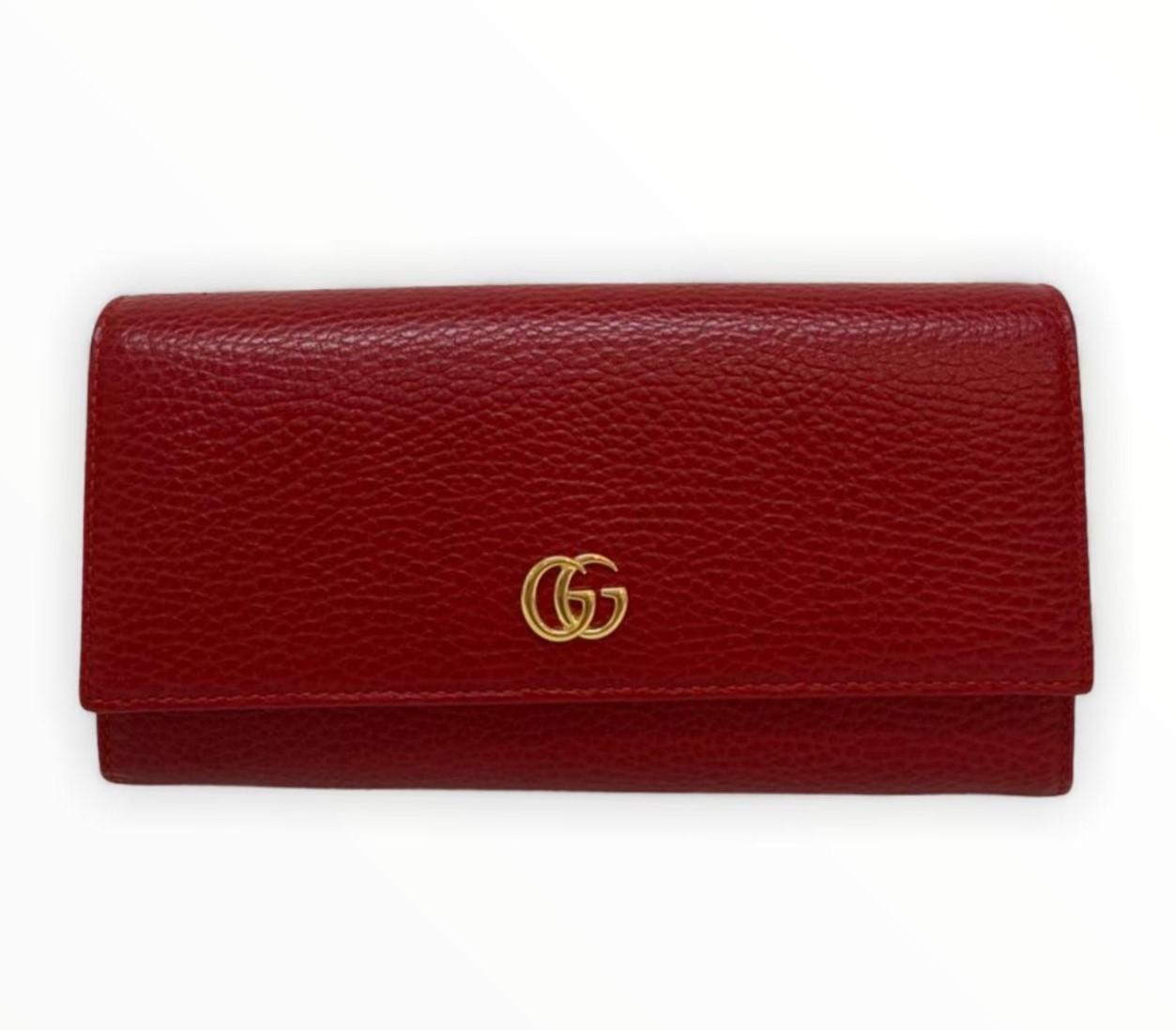 Carteira Gucci GG Marmont Continental Vermelha