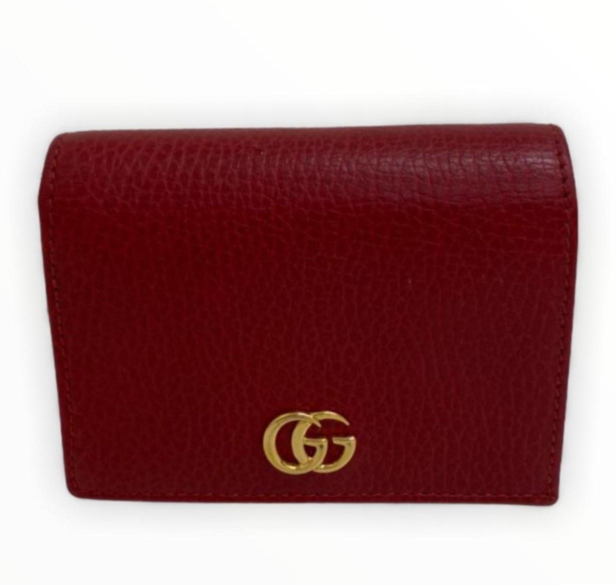 Carteira Gucci GG Marmont Grained-Leather Vermelha