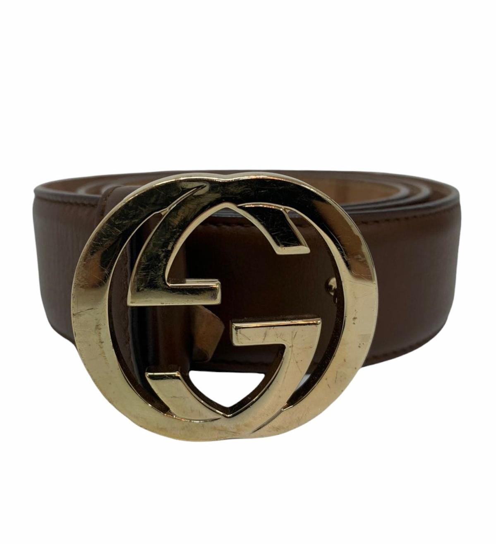 Cinto Gucci Interlocking G Marrom