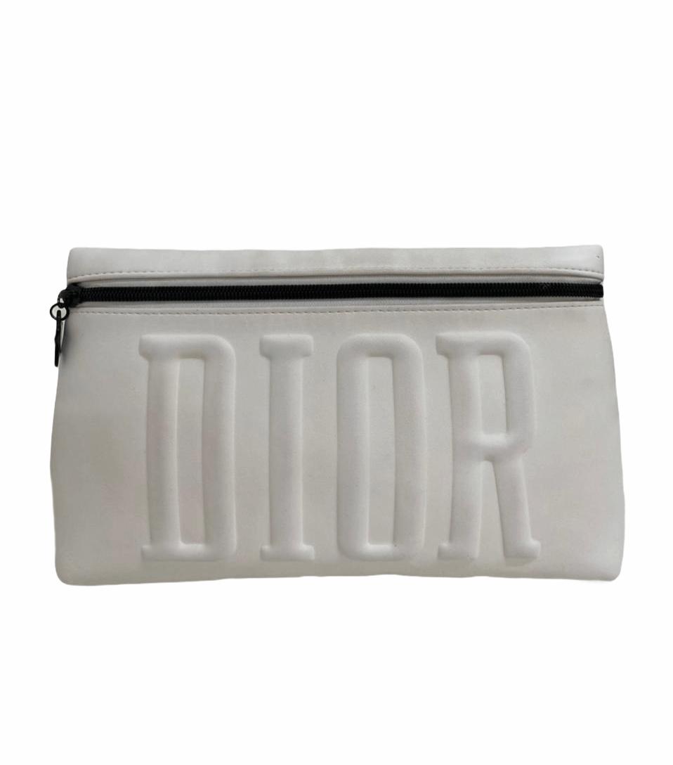 Clutch Dior White Zipper Beauty